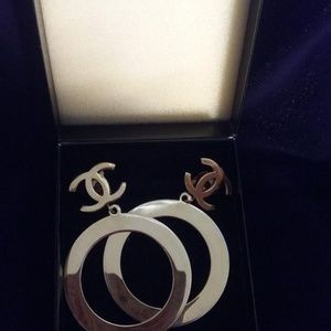 Chanel Vintage Circa 1990 Double C Hoop Earings